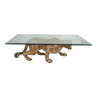 Hand Painted Mid-Century Leopard Coffee Table