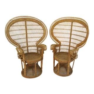Rattan Emmanuel Peacock Chairs - A Pair