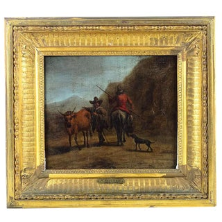 17th C. 'Peasants & Animals' Oil Painting