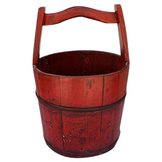 Chinese Red Lacquer Wood Bucket