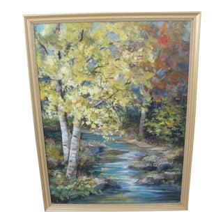 Vintage Impressionist Oil on Board Landscape Painting