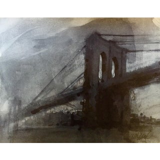 """Brooklyn Bridge"" Acrylic Watercolor Painting"