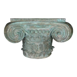 Patinated Bronze Ionic Capital Table Base
