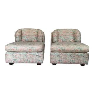 Vintage Henredon Mid Century Slipper Chairs - Pair