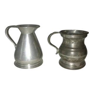 Antique Pewter Bar Measures English Pub - A Pair