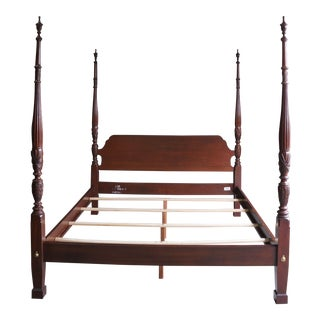 Ethan Allen Georgian Court Carved 4 Post California King Bed