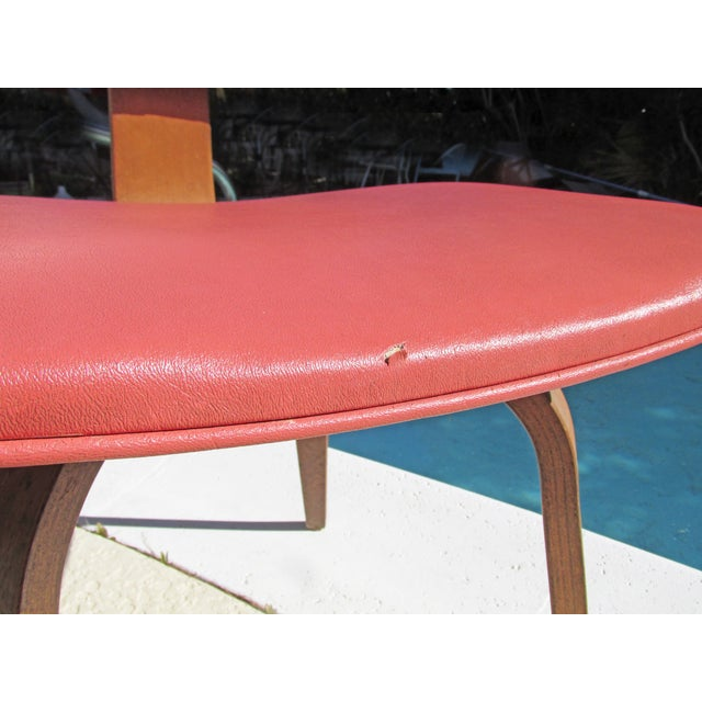Thonet Vintage 1960 Bent Plywood Coral Vinyl Chair - Image 6 of 6