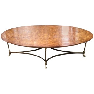 Burled Walnut & Brass Coffee Table