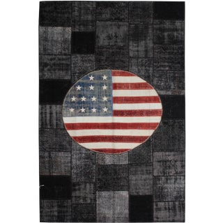 """Hand Knotted Antique Patchwork Flag Rug - 10'0"""" X 6'6"""""""