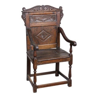 Carved Walnut Panel Back Great Chair