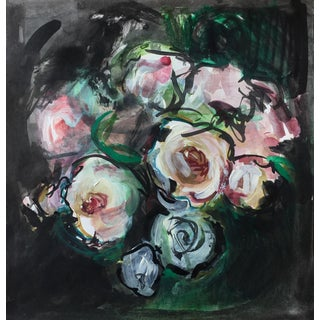 White Roses Bouquet Painting