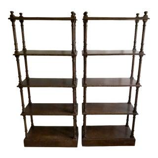 British Colonial Faux Bamboo Book Shelves - a Pair