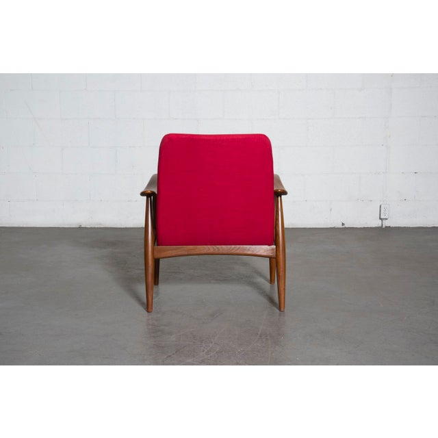 Mid-Century Magenta Upholstery Teak Lounge Chair - Image 6 of 10