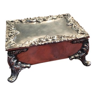 Queen Victoria Sterling Silver Inlay Jewelry Box