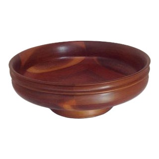 Mid-Century Modern Turned Wood Pedestal Bowl