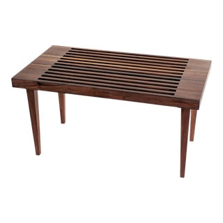 Mid Century Modern Wooden Slat Bench
