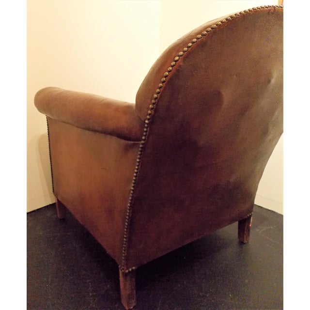 French Vintage Leather Club Chair - Image 7 of 7