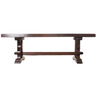 FRENCH EARLY 19TH CENTURY OAK TRESTLE DINING TABLE