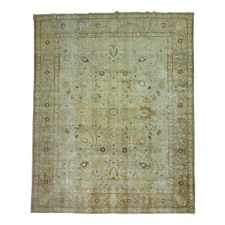 Mint Green Persian Tabriz Rug - 9'5'' X 12'9''
