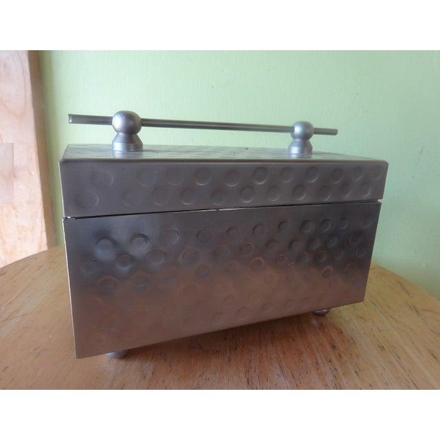 Sleek Miniature Silver Jewelry Box - Image 3 of 7