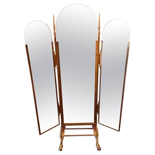 Vintage Italian Brass 3-Way Folding Floor Mirror