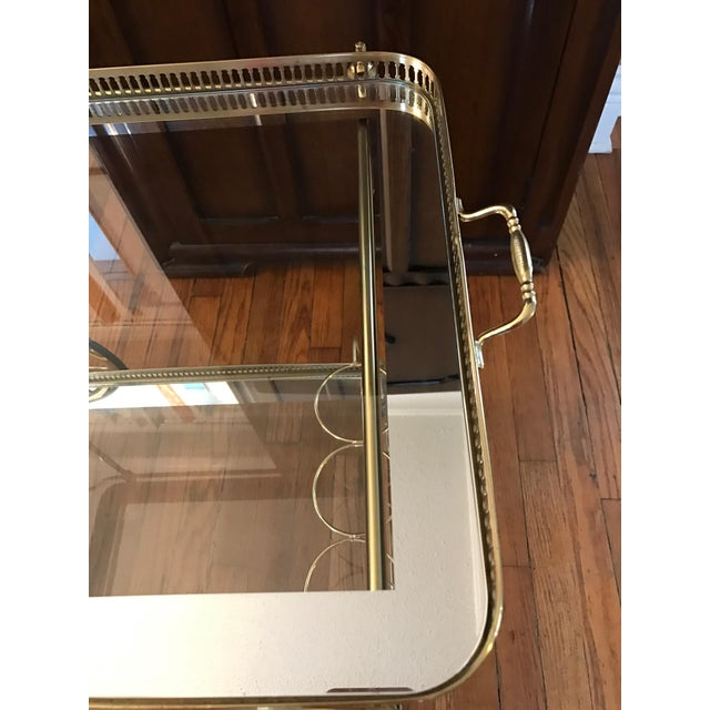 Vintage Brass & Glass Bar Cart - Image 5 of 8