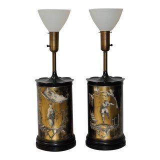 Eglomise Reverse Painted Table Lamps - A Pair