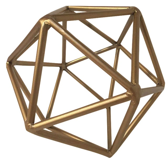 Gold Metal Geometric Decor Piece - Image 1 of 5