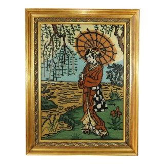 Vintage Japanese Girl With Orange Umbrella Needlepoint