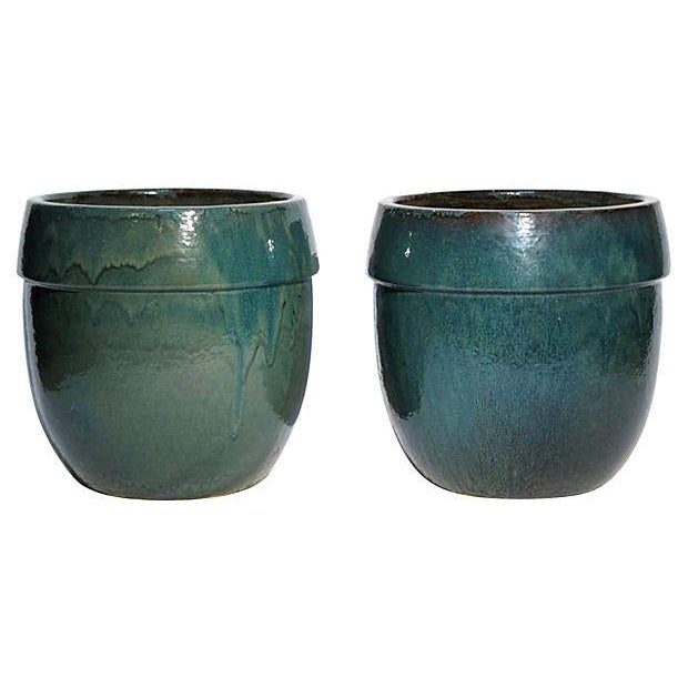 Image of Stoneware Planters - A Pair