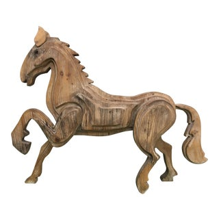 Large Monumental Modernist Sculptural Wood Horse Statue