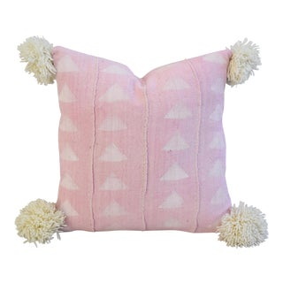 Custom Pale Pink & Cream Ball Tasseled Feather/Down Pillow