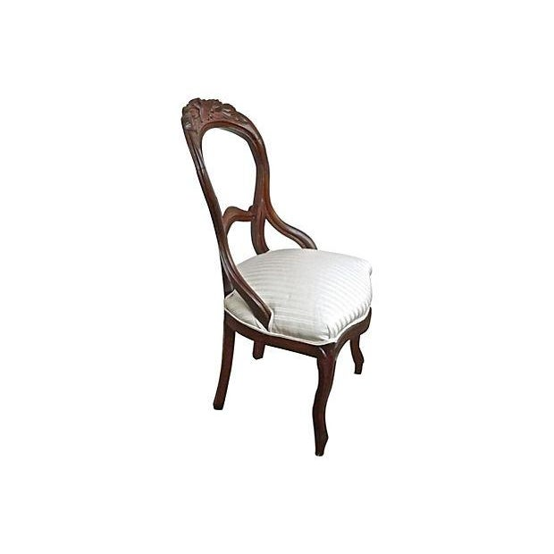 Image of English Hand-Carved Leaf & Silk Chairs - Pair