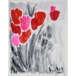 Gouache Abstract Floral Painting by Cleo