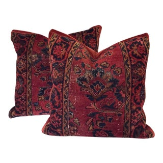 Custom Made Kilim & Schumacher Velvet Pillows - a Pair