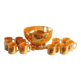 Egg Nog Peach Lustre Punch Bowl & Fire King Mugs - Set of 13