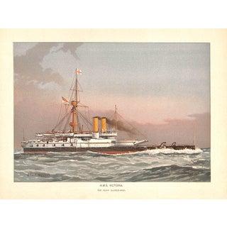Antique HMS Victoria Battleship Chromolithograph