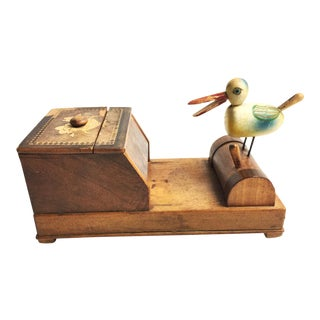 Vintage Mid-Century Ornate Cigarette Box / Dispenser With Bird