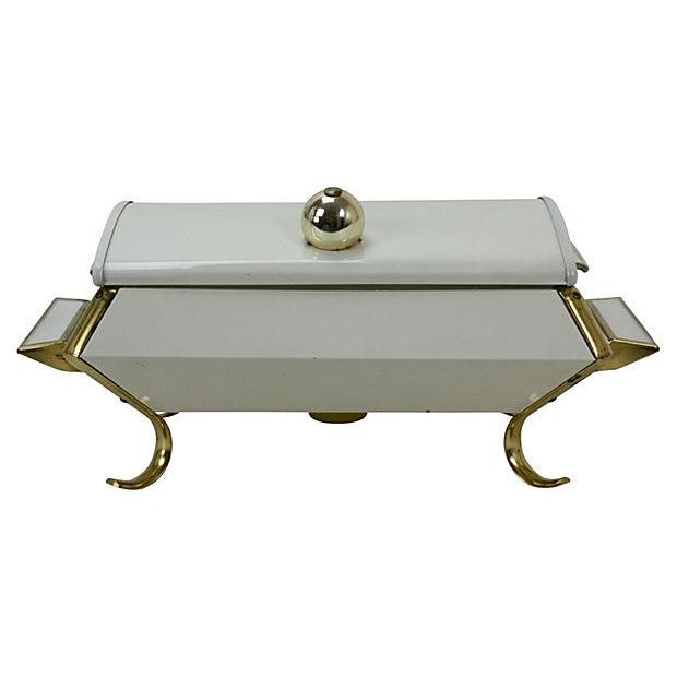 Image of Hollywood Regency White and Gold Buffet Server