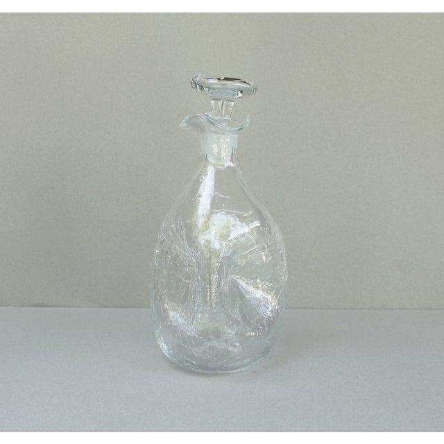 Image of Vintage Blenko Crackle Glass Decanter