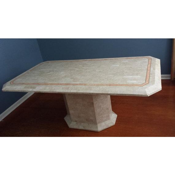 Tessellated Fossil Stone Pedestal Dining Table - Image 2 of 8