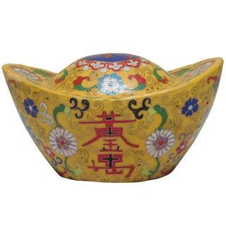 Chinese Metal Yellow Enamel Cloisonne Big Gold Ingot Figure