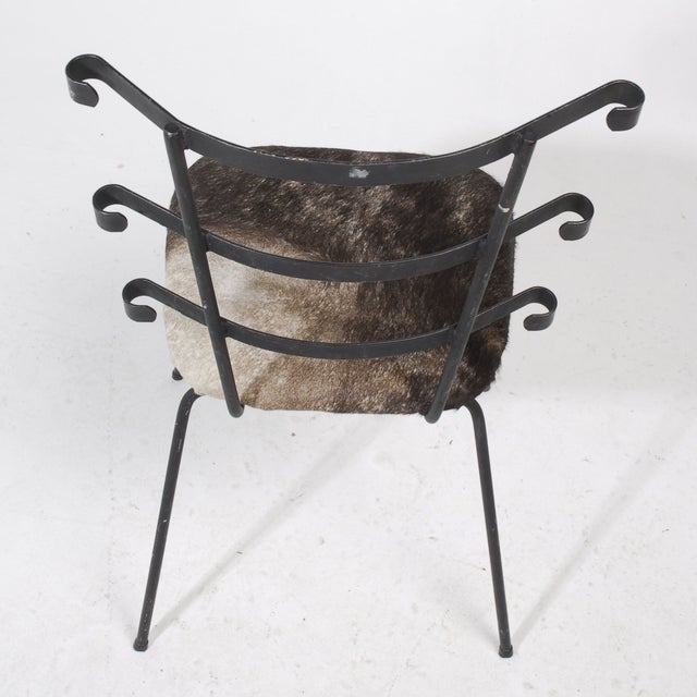 1950s Modernist Iron Side Chair with Cowhide Seat - Image 3 of 7