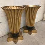 Image of Gold Leaf Fiberglass Urns - A Pair