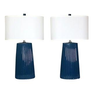 Vintage Blue Lamps - A Pair