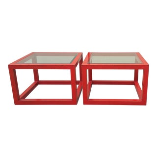 Modern Glass Top Red Lacquered Cube Coffee Tables - a Pair