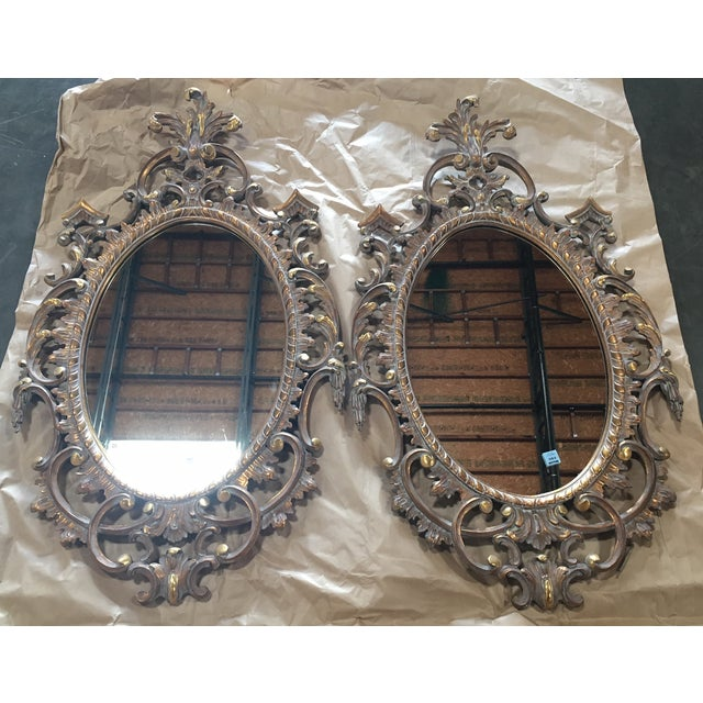 Image of John Nelson Italian Giltwood Carved Mirrors - Pair
