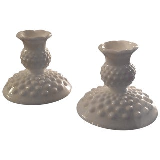 Fenton Hobnail Milk Glass Candlesticks - A Pair