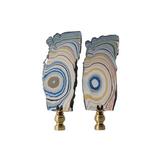 Whorled Multicolor Paint Lamp Finials - A Pair