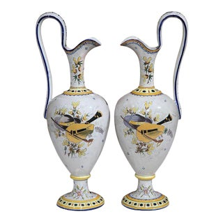 Early 20th Century French Hand-Painted Water Pitchers - A Pair